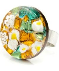 Murano Prsten skleněný kulatý - zlatá, zelená, bílá - Elisa