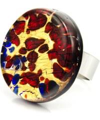 Murano Prsten skleněný kulatý - červená, zlatá - Elisa