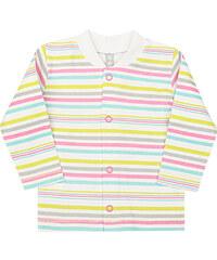 Nini Dívčí kabátek pruhovaný - zeleno-bílo-růžový