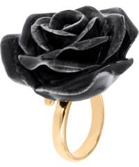 Nach Bijoux Bague Ajustable En Porcelaine & Laiton Doré - Fleur Noire
