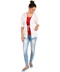 TopMode Ležérní sako s kapucí a kapsami bílá