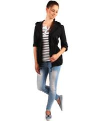TopMode Ležérní sako s kapucí a kapsami černá