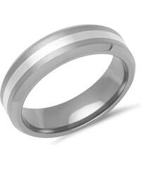 Unique Jewelry Eleganter Ring Titan matt mit Einlage Silber - TR0022