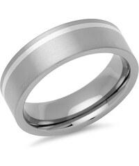 Unique Jewelry Eleganter Ring Titan matt mit Einlage Silber - TR0023