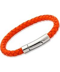 Unique Jewelry Armband echtes Leder 6mm - 19cm Orange LB0099-19