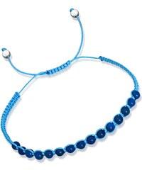 Unique Jewelry Blaues Textilarmband mit Silberelementen TXB0040