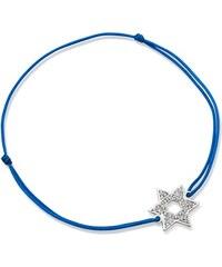 Unique Jewelry Blaues Textilarmband mit Silberelement TXB0053