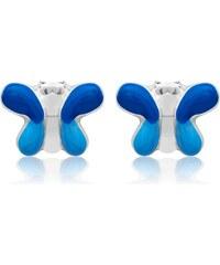 Unique Jewelry Kinderohrstecker Silber Schmetterling blau KE0023