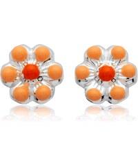 Unique Jewelry 925 Silber Kinderohrstecker Blumenmotiv orange KE0050