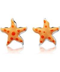 Unique Jewelry 925 Silberohrstecker für Kinder orange Sterne KE0061