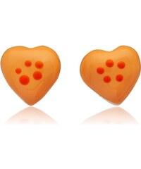 Unique Jewelry 925 Silberohrstecker für Kinder oranges Herz KE0066