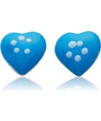 Unique Jewelry 925 Silberohrstecker für Kinder blaues Herz KE0070