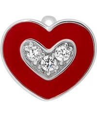 Unique Jewelry Clip Charm 925 Silber Emaille Zirkonia Herz CC0122