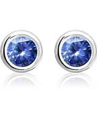 Unique Jewelry Ohrstecker 925 Sterlingsilber blauer Zirkonia SE0496