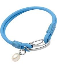 Unique Jewelry Lederarmband blau Süßwasserperle LB0293