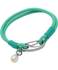 Unique Jewelry Armband Leder mintfarben Süßwasserperle LB0294