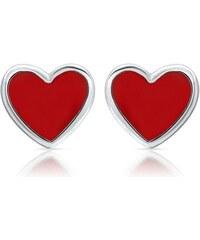 Unique Jewelry 925er Sterlingsilber Kinderohrstecker rotes Herz KE0142