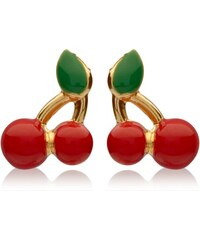 Unique Jewelry Kirschen rot grün Ohrstecker aus 375er Gold GE0244