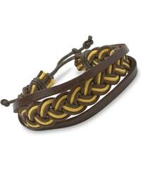 Unique Jewelry Armband Flechtoptik Leder Textil gelb dunkelbraun LB0397