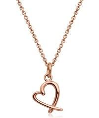 Unique Jewelry Rosévergoldetes Edelstahlcollier Herz-Anhänger N5099