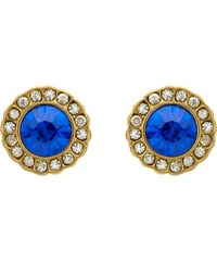 Unique Jewelry Blaue Ohrstecker Steinbesatz gold Modeschmuck MOE0025