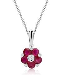 Unique Jewelry Blüten-Collier Rubine Diamanten 0,595 ct gesamt DN0034