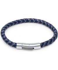 Unique Jewelry Geflochtenes Lederarmband grau/blau LB0448