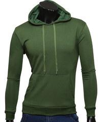 Re-Verse Unifarbener Kapuzensweater mit Kängurutasche - Khaki - M