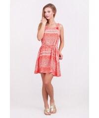 SAM 73 Dámské šaty na ramínka s ornamentálním potiskem DRWS16_04 pink - růžová