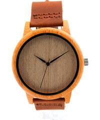 Lesara Bambus-Armbanduhr mit Lederband
