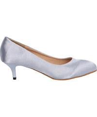 Lesara Kitten Heel-Pumps in glänzender Optik - Silber - 35