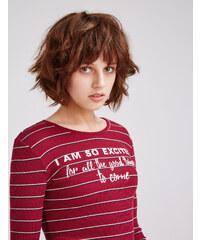 tee-shirt côtelé à message rayé bordeaux, beige et bleu marine Jennyfer