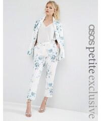 ASOS PETITE - SALON - Zigarettenhose mit blauem Blumenprint - Mehrfarbig