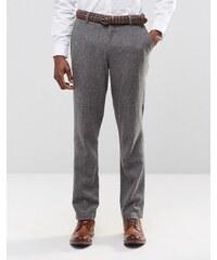 ASOS WEDDING - Pantalon slim habillé en tweed à poches - Gris
