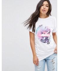 ASOS - T-shirt oversize à imprimé espace style rétro - Blanc