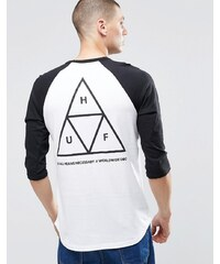 HUF 3/4 T-shirt raglan avec trois triangles imprimés au dos - Blanc