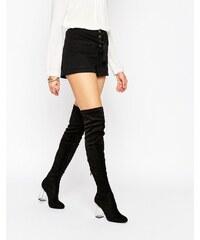 Public Desire - Parker - Overknee-Stiefel mit transparentem Absatz - Schwarz