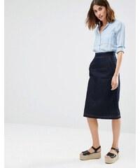 Warehouse - Jupe mi-longue en jean - Bleu marine