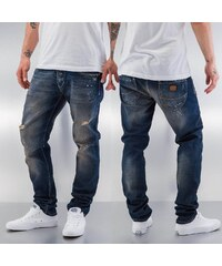 Just Rhyse Paint Straight Fit Jeans Blue