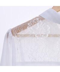 Lesara Oversize-Bluse mit Spitze - Weiß - S