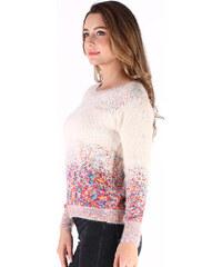 Lesara Chenille-Pullover mit buntem Muster - Creme - S