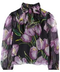 Dolce & Gabbana Seiden-Voile-Bluse mit Tulpenaufdruck