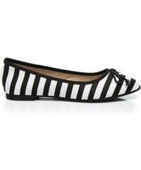 La Bella shoes Elegantní černé pruhované baleríny
