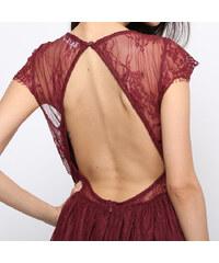 Lesara Cocktailkleid mit halbtransparenter Schulterpartie - Dunkelrot - S