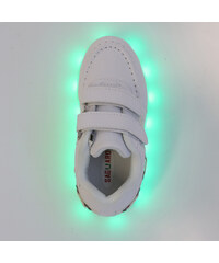 Lesara Kinder-LED-Schuh mit Klettverschluss in Leder-Optik - Weiß - 26