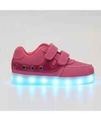 Lesara Kinder-LED-Schuh mit Klettverschluss in Leder-Optik - Pink - 25