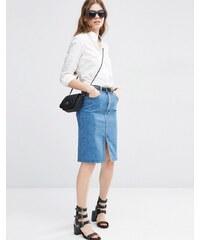 ASOS - Jupe fourreau en jean - Bleu délavé moyen - Bleu