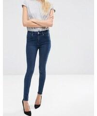 ASOS - Sculpt Me - Jean taille haute de qualité supérieure - Délavage foncé Drew - Bleu