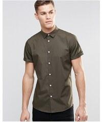 ASOS - Chemise habillée à manches courtes - Kaki - Vert