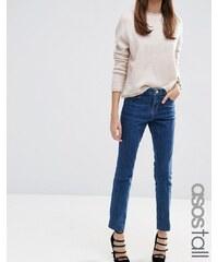 ASOS TALL - Castile - Jean droit à délavage vintage foncé - Bleu - Bleu